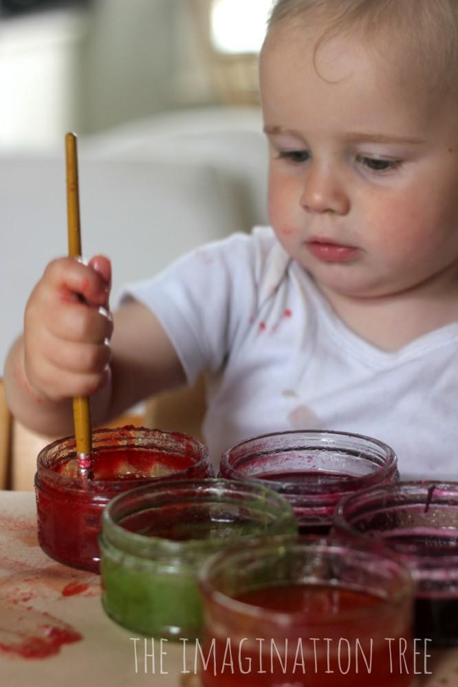 Edible jello finger paints