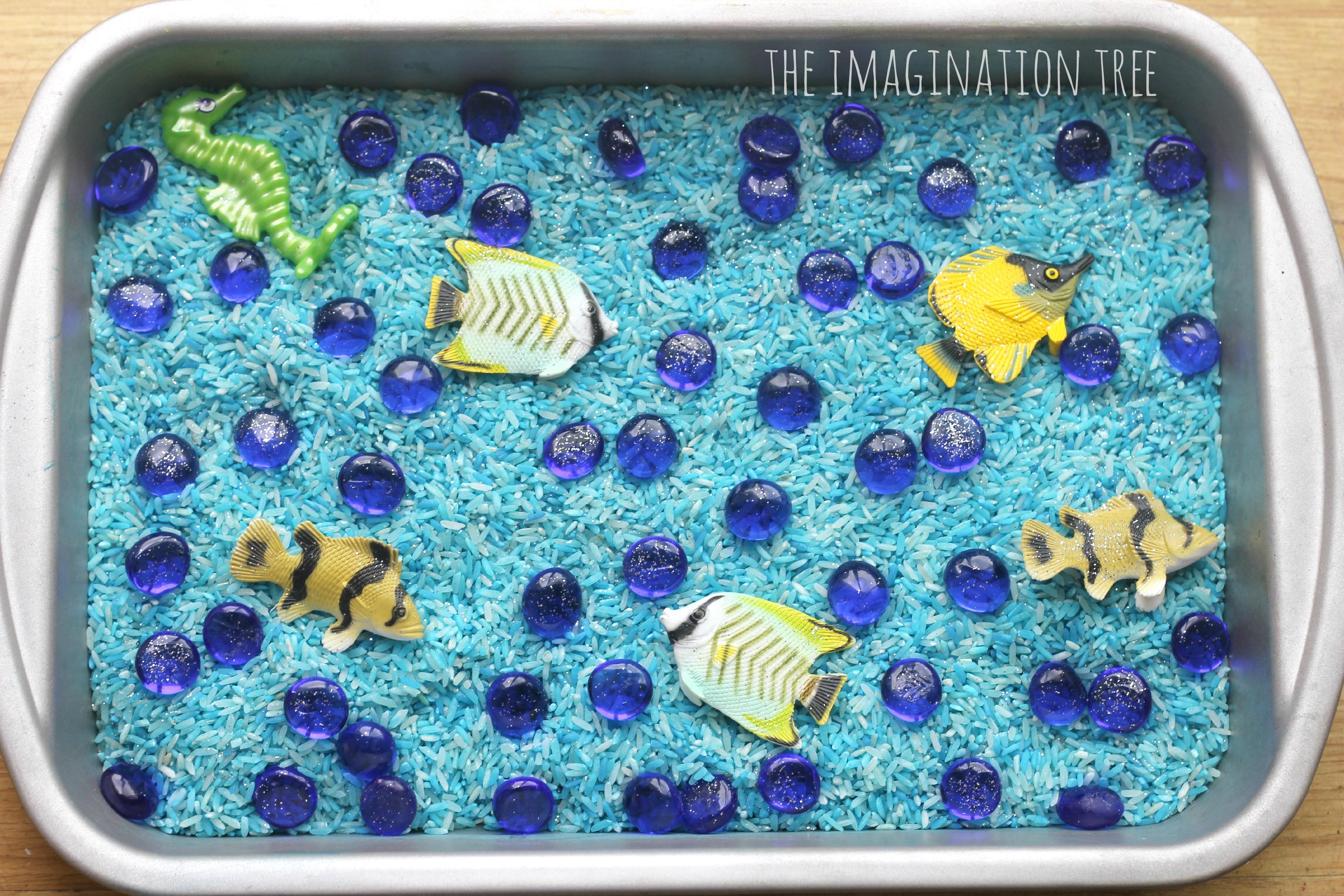 Ocean Sensory Tray With Frozen Rice The Imagination Tree