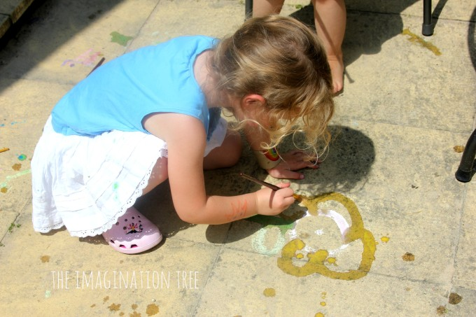 Painting with DIY sidewalk paint
