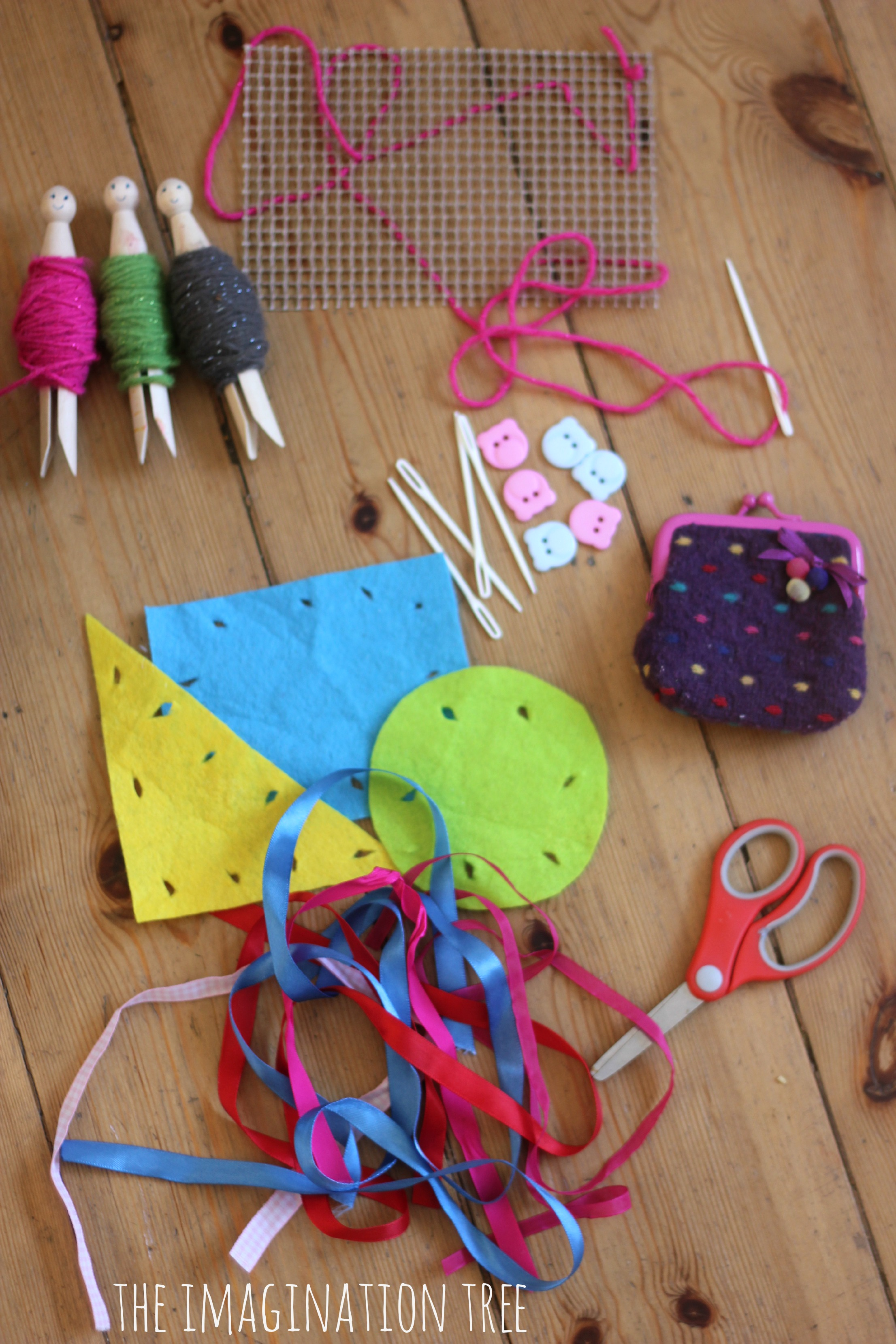 First sewing basket for kids the imagination tree for Children s material sewing