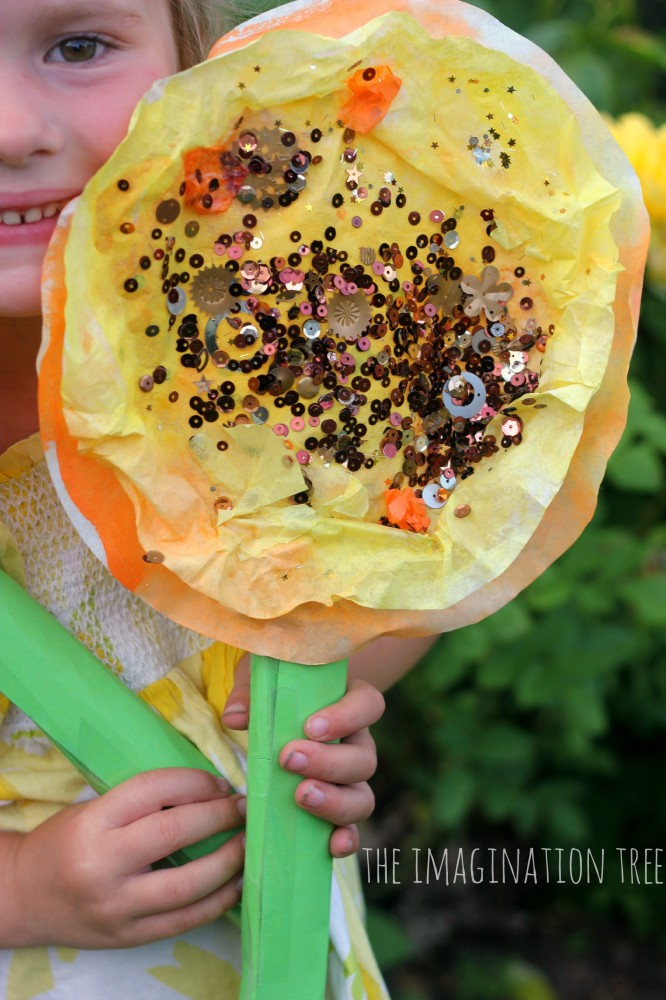 Coffee filter sunflower art project