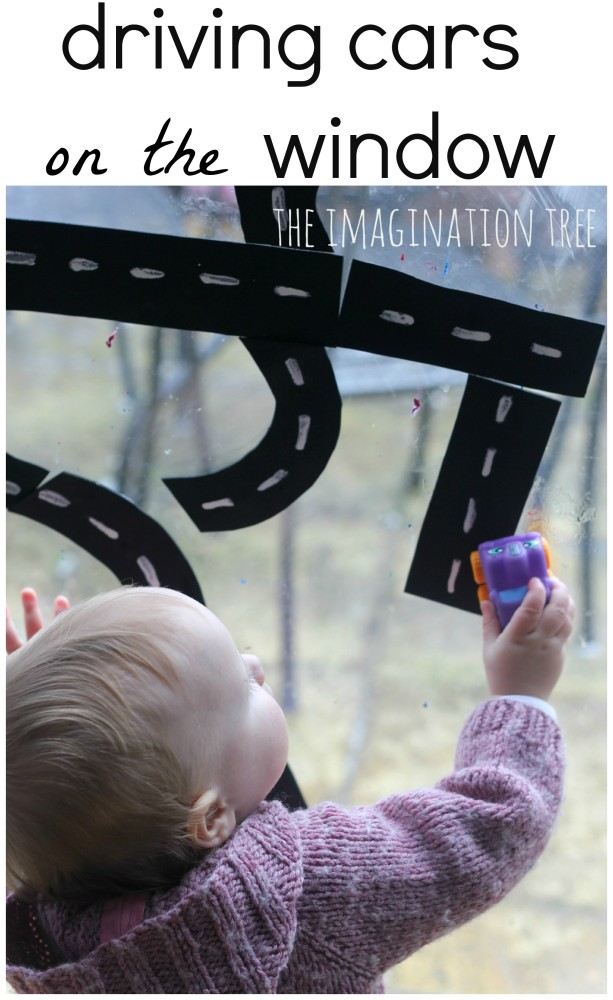 Driving cars on the window gross motor play activity