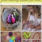 Ideas for making a first sewing basket for kids