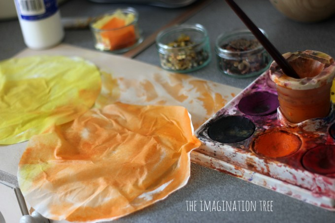 Painted coffee filter sunflowers