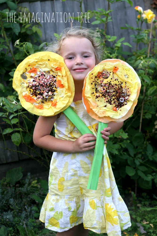 Sunflower mixed media craft for kids