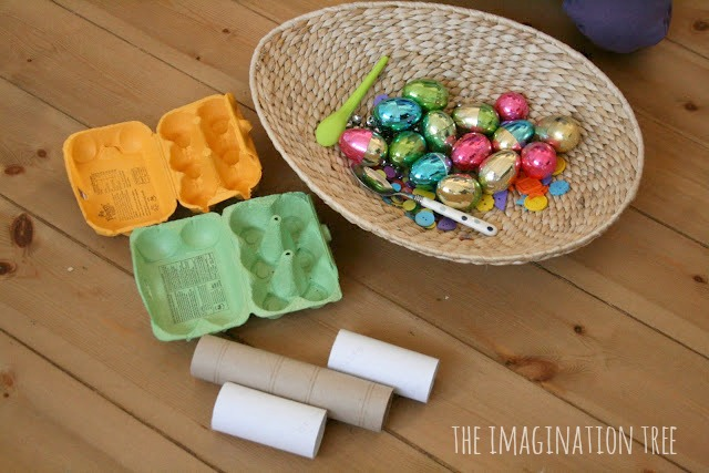 plastic eggs discovery box