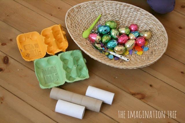 plastic eggs discovery box
