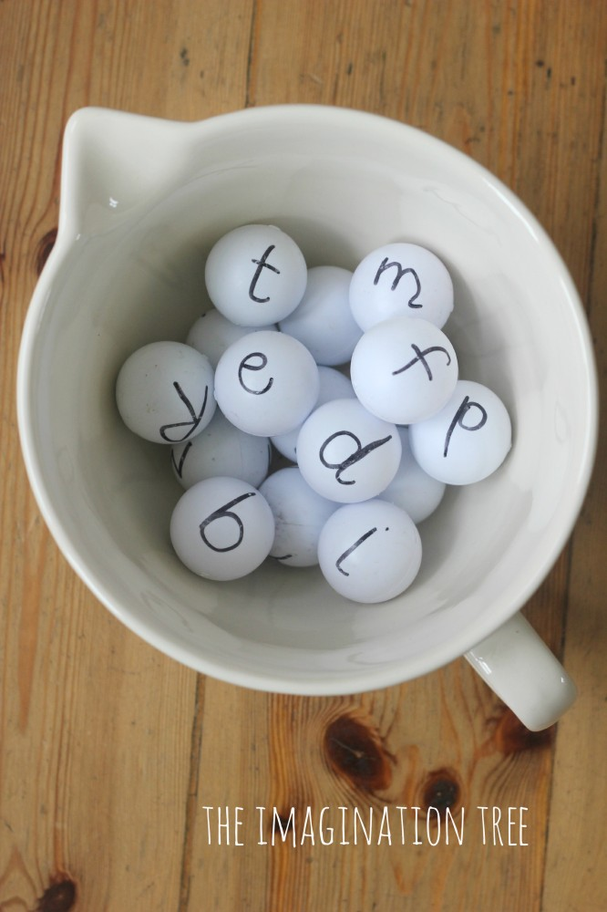 Alphabet ping pong balls for literacy play