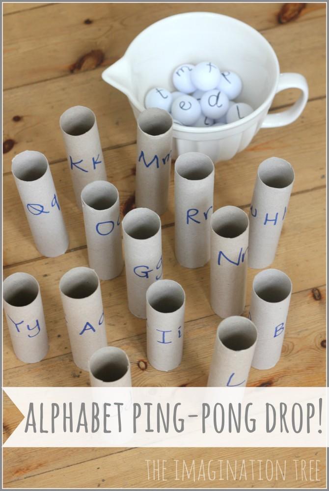 Alphabet ping-pong drop literacy game