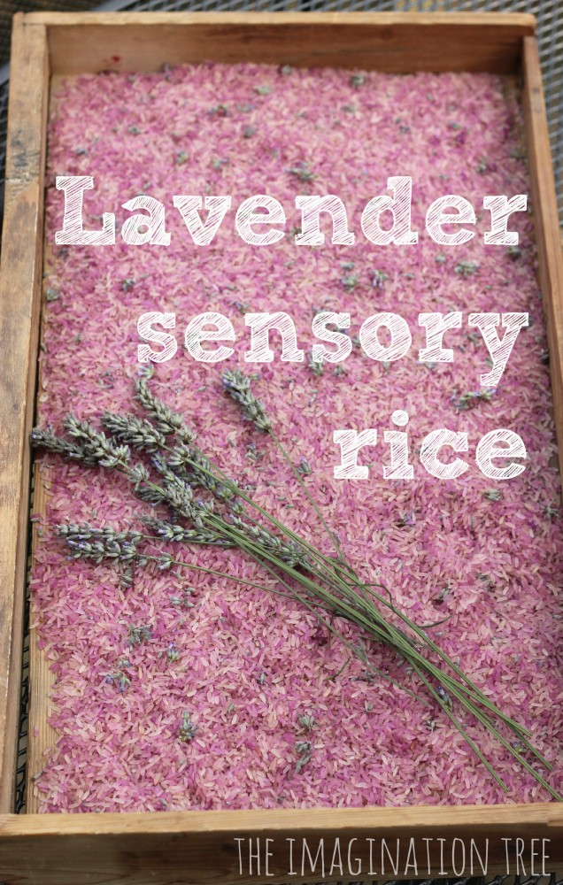 Lavender rice calming sensory play