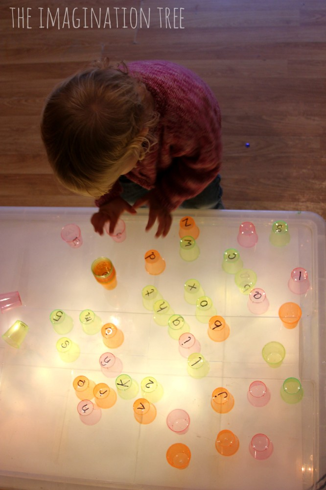 Literacy cups on the light box