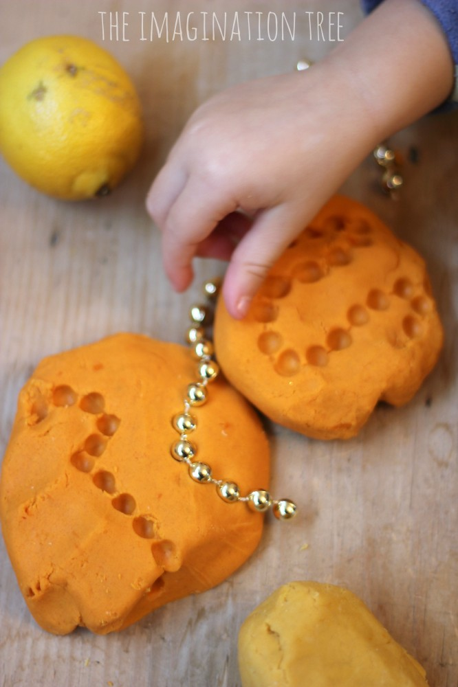 Orange and lemon play dough activity