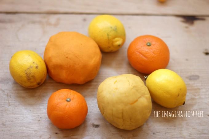 Orange and lemon play dough sensory play