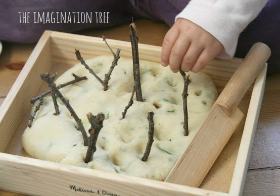 natural materials in herbal play dough