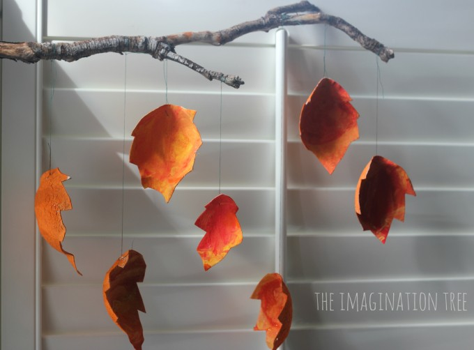 Cardboard autumn leaf mobile