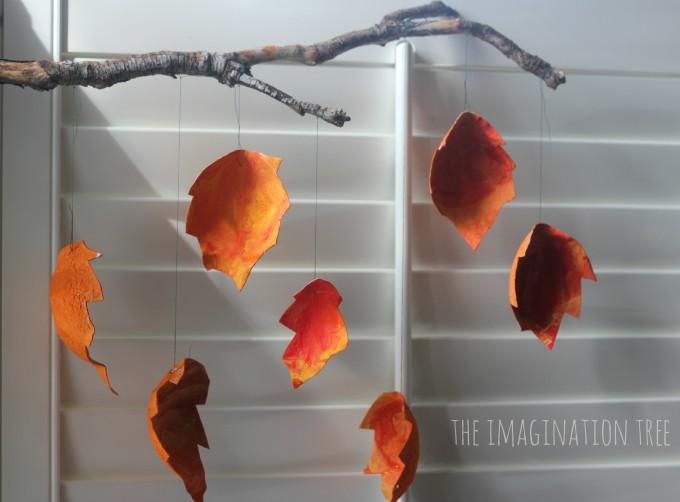 Cardboard autumn leaf mobile