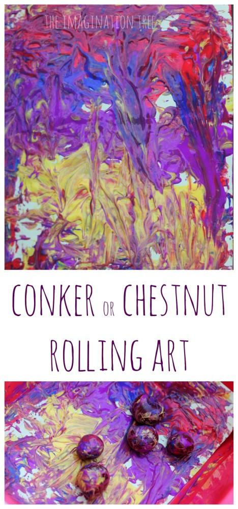 Conker or chestnut rolling art