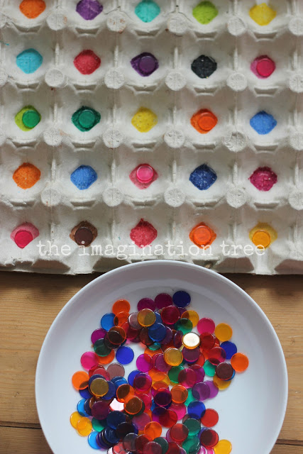 Egg carton colour sorting game