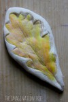 Natural leaf prints in salt dough