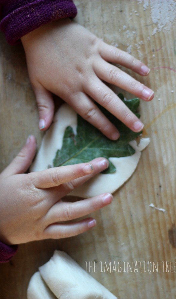 Salt dough leaf printing