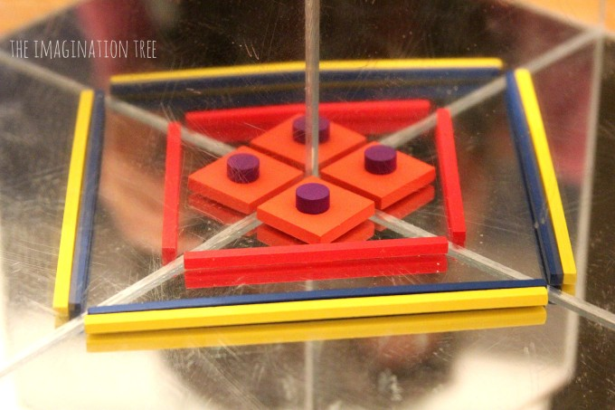 Spielgaben materials on a mirror cube