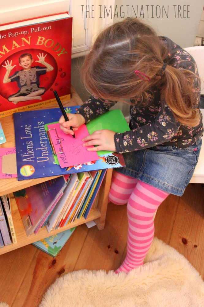 Writing book tickets in the role play library