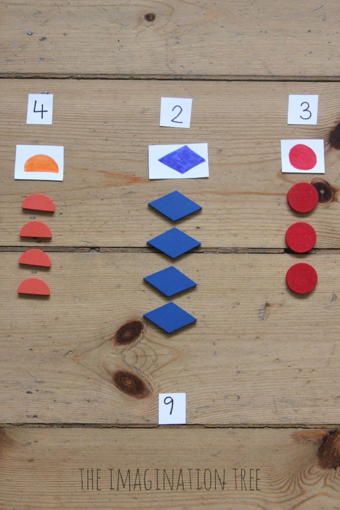 Addition activity with shapes