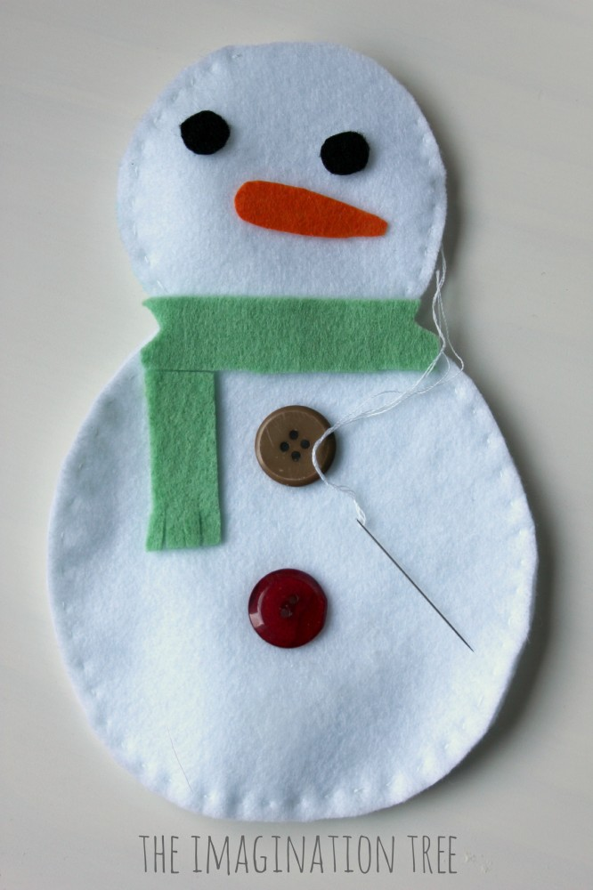 Felt snowman sewing activity