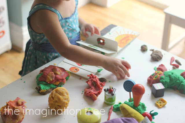 Hungry+caterpillar storytelling with play dough