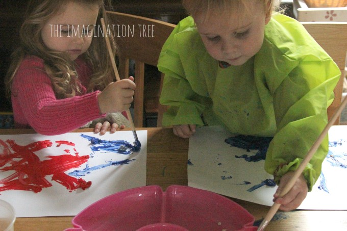 Painting and exploring with textured paints