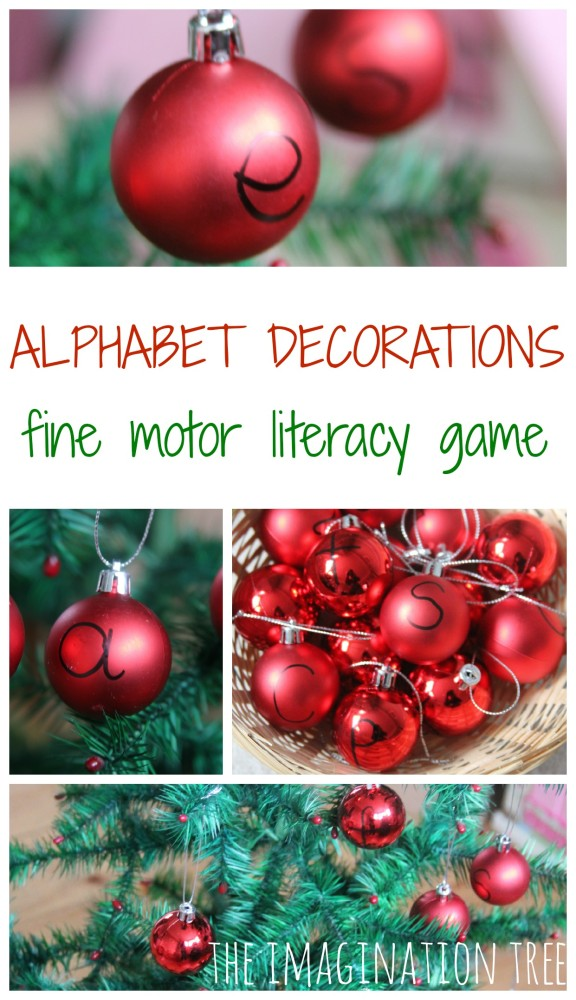 Decorate the tree with alphabet decorations fine motor literacy game for kids