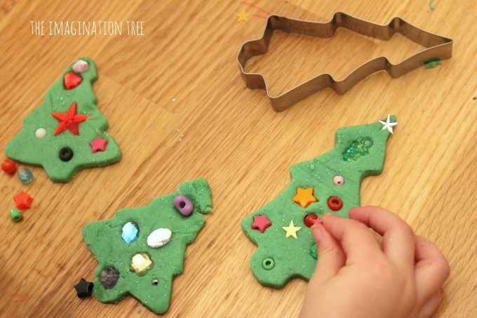 Decorating play dough christmas trees activity