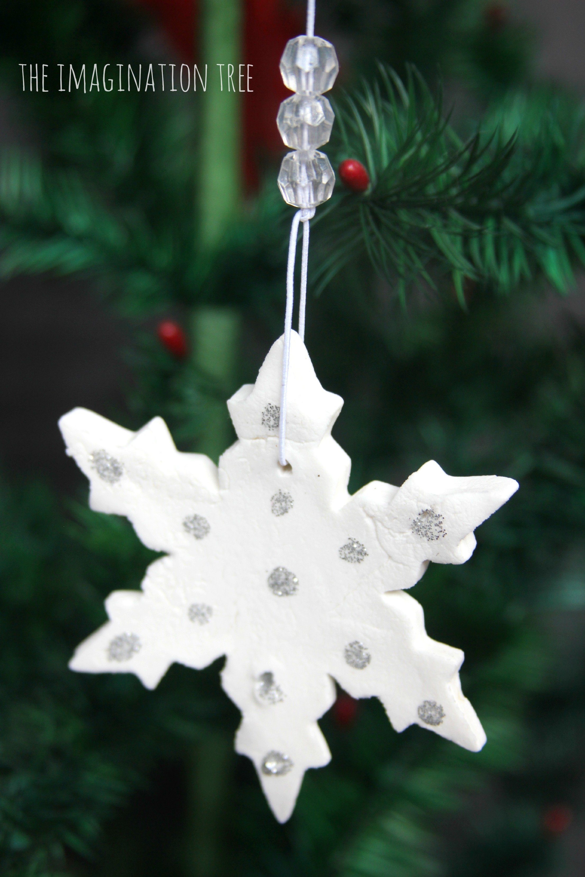 Christmas snowflake ornaments - Homemade White Clay Ornaments