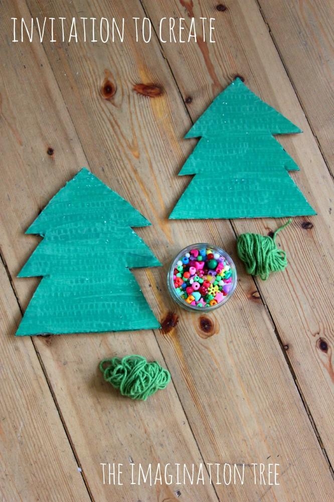 Yarn and Bead Christmas Tree Craft