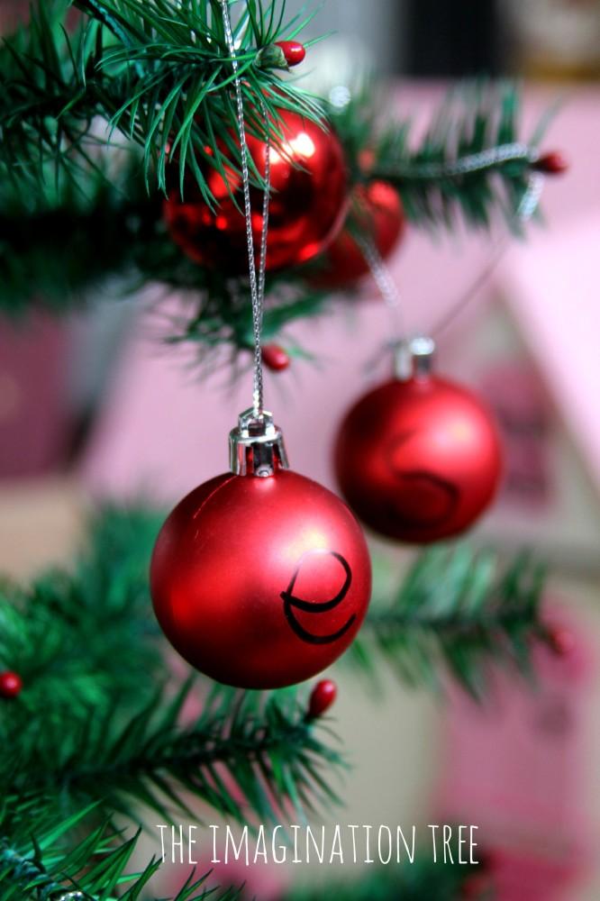 Phonics activity with tree decorations
