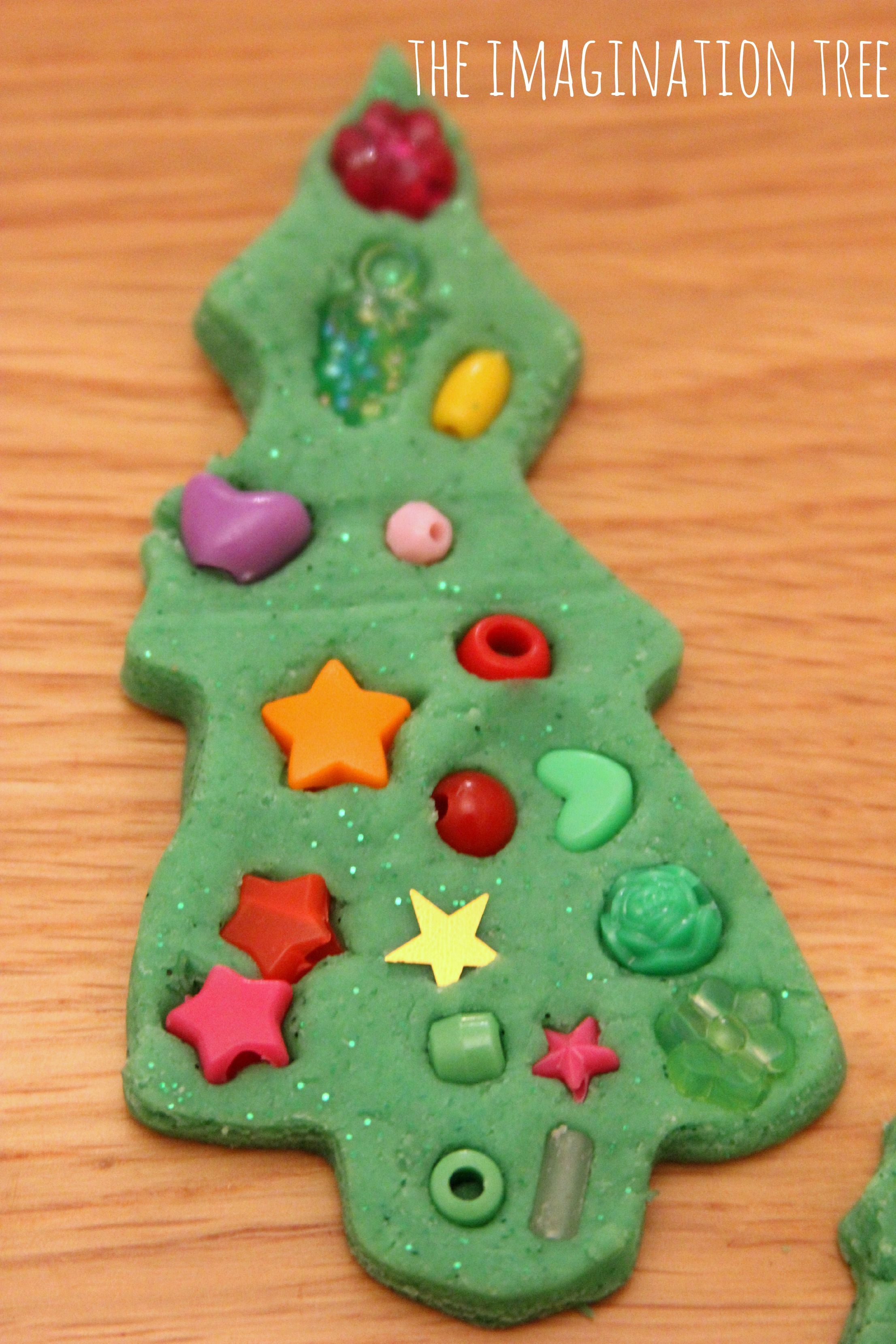 play dough and beads christmas trees