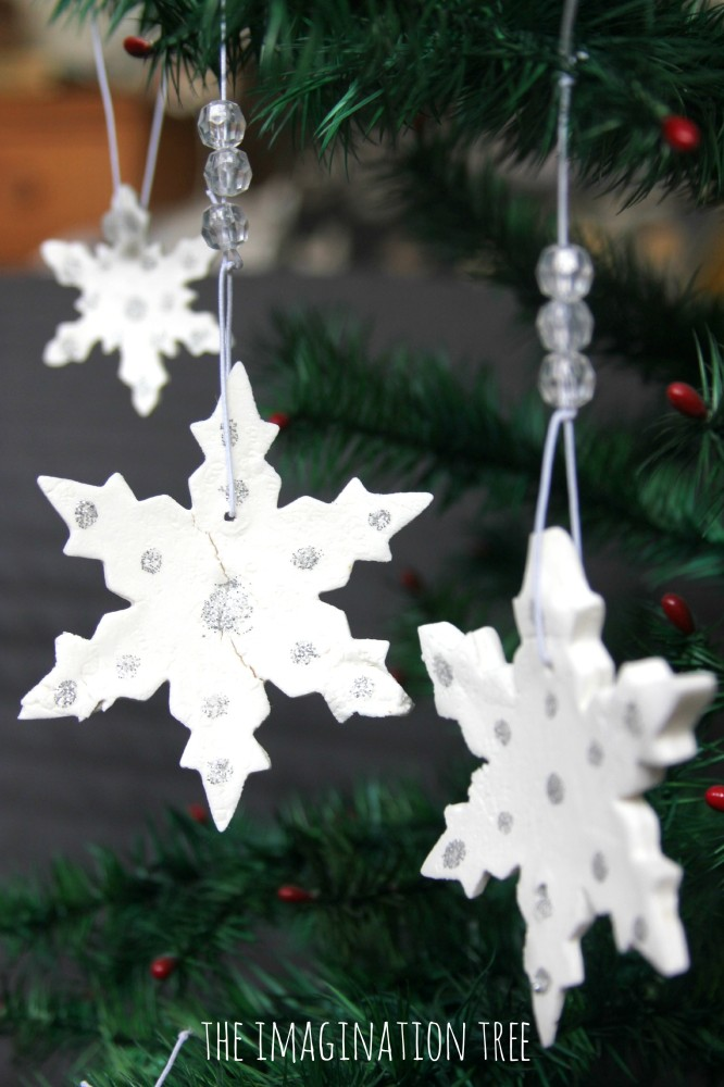 White clay snowflake ornaments