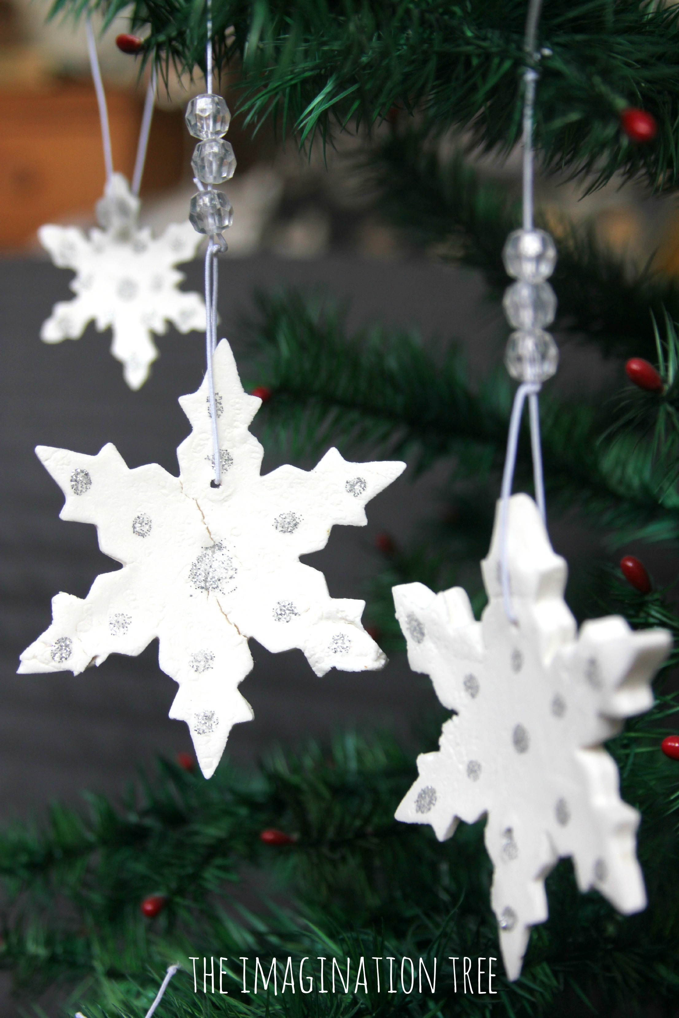 Christmas snowflake ornaments - White Clay Snowflake Ornaments