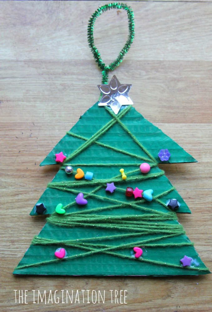 Yarn and bead wrap Christmas tree craft