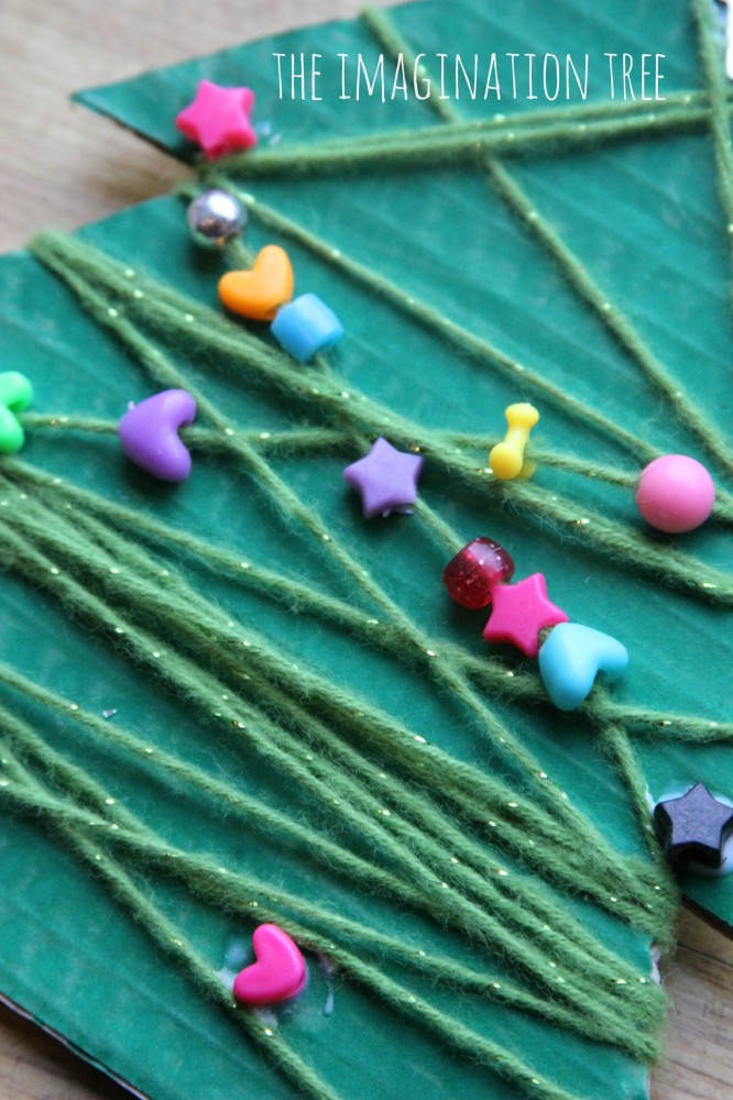 Yarn and beads Christmas tree craft
