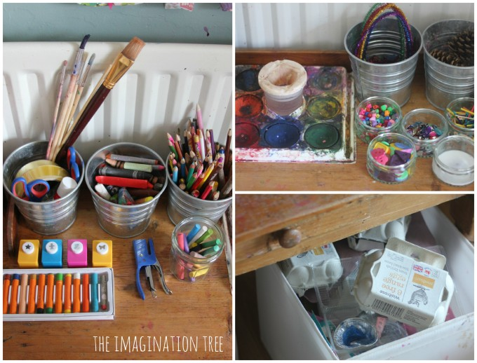 Art materials for a child's creative area