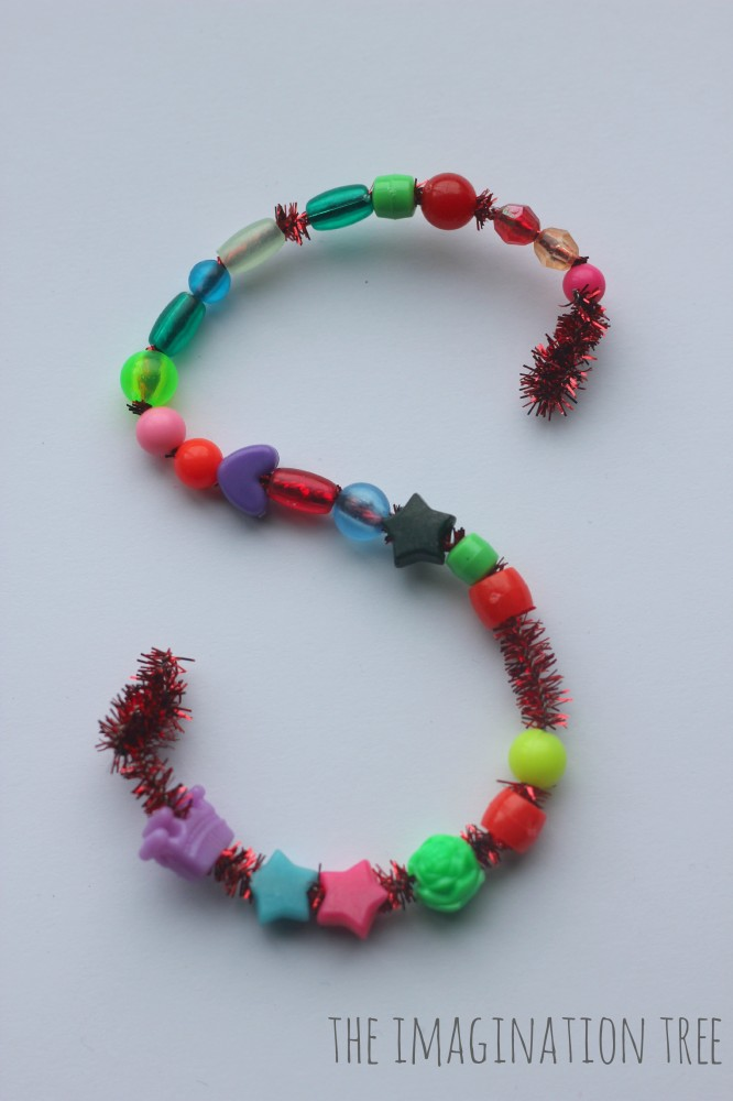 Bead and pipe cleaner literacy activity