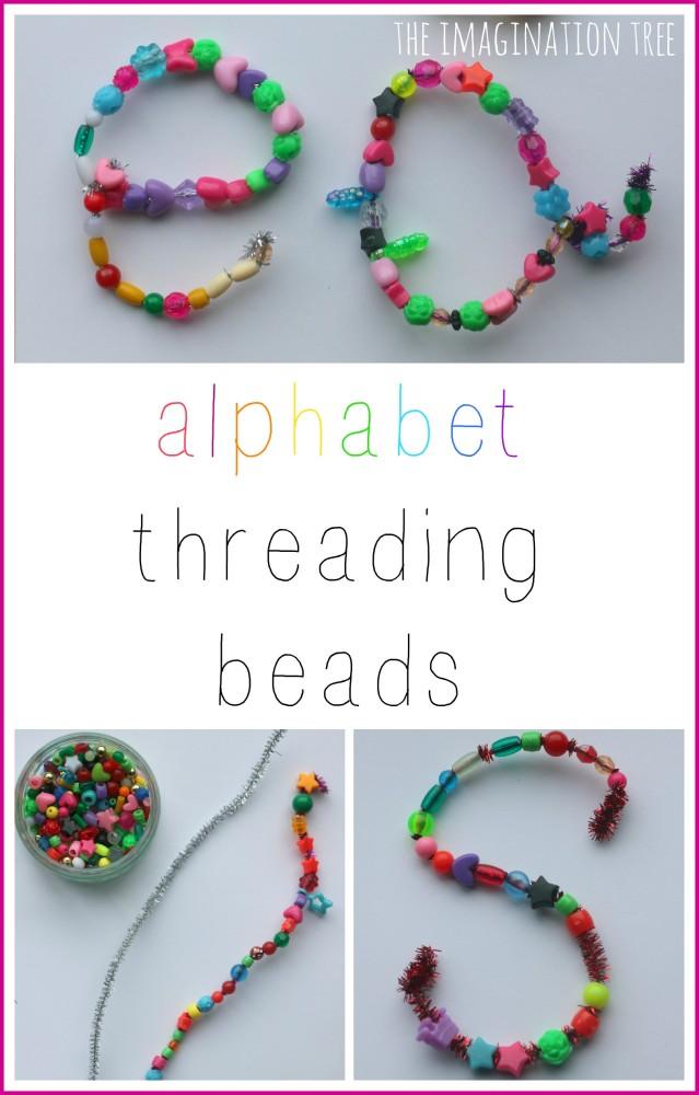 Fine motor alphabet threading beads activity