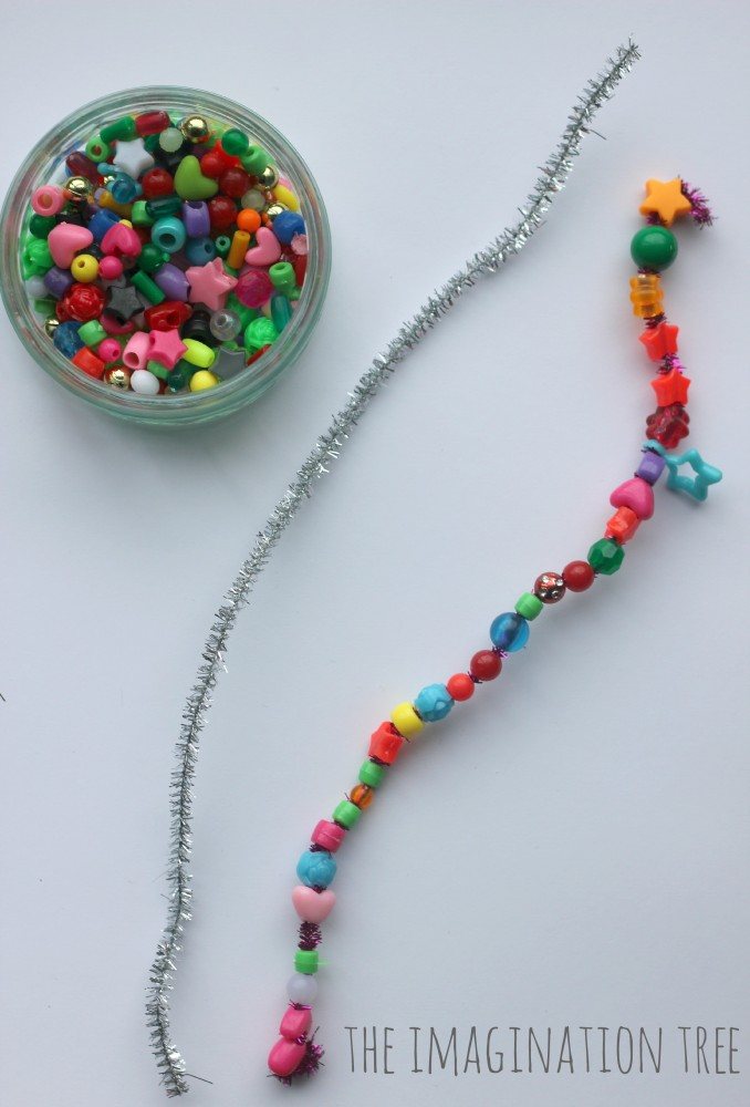 Fine motor threading beads alphabet