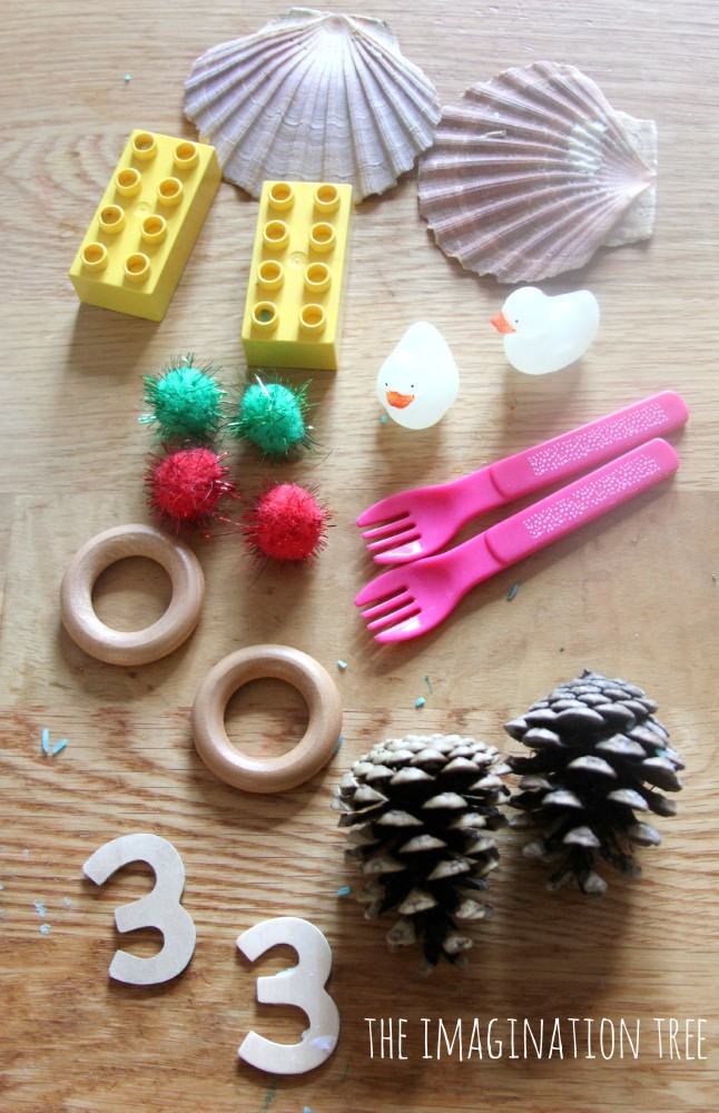 Matching pairs toddler play game with real objects
