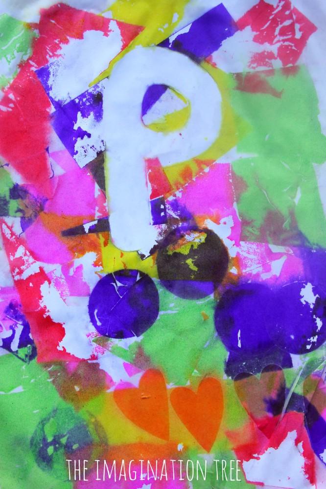 Alphabet resist bleeding tissue paper art