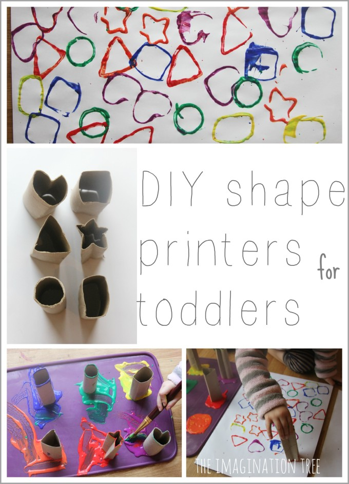 Cardboard tube shape printers for toddler art