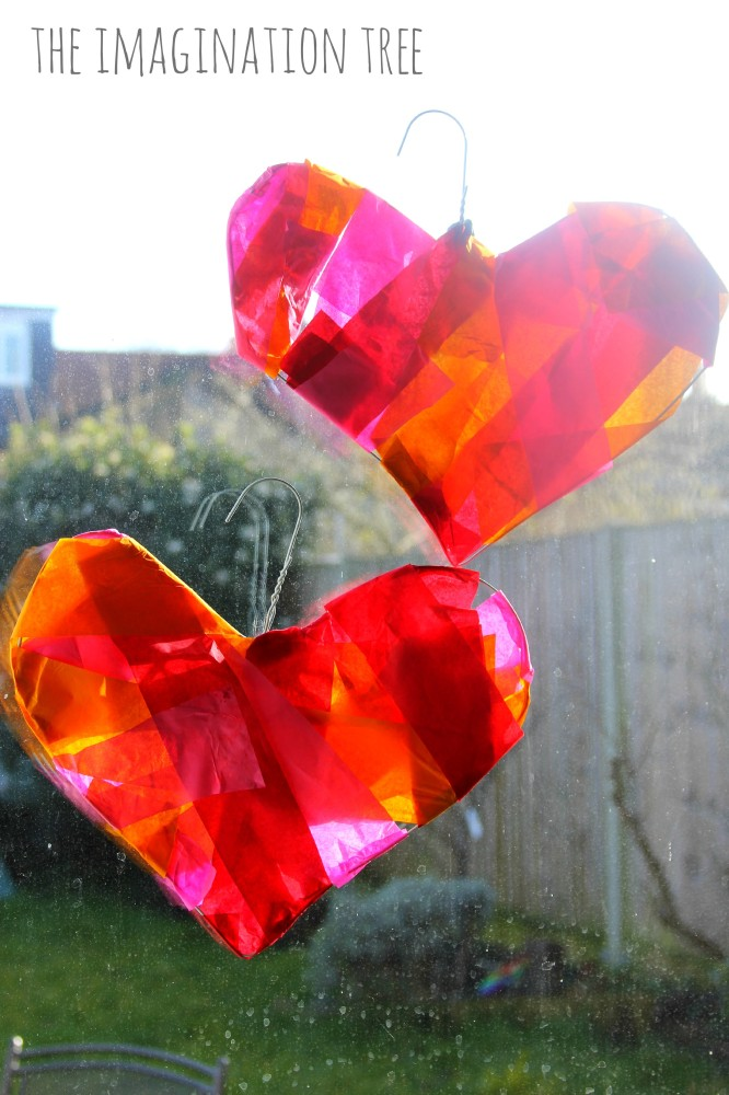 Coat hanger sun catchers for Valentine's Day