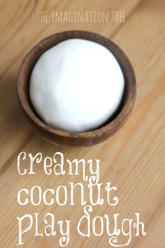 Creamy coconut play dough recipe with 2 ingredients!