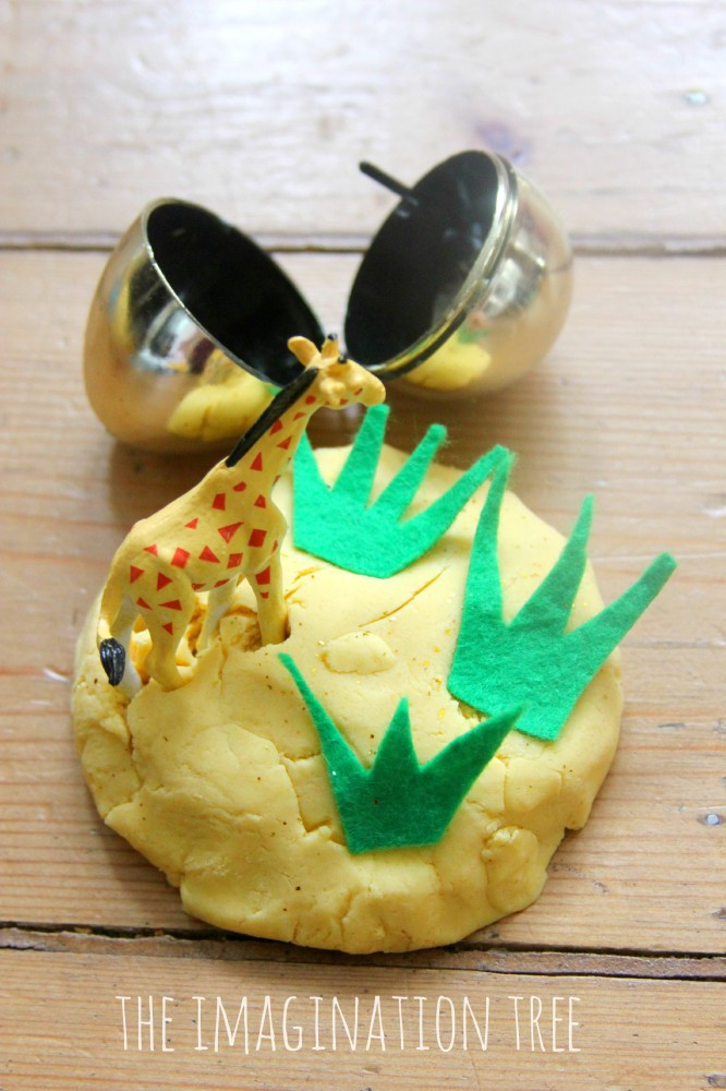DIY sensory small world play play dough eggs